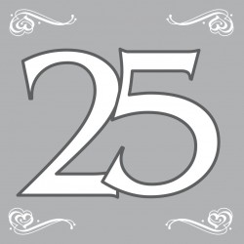 Servet 25 Zilver 33x33cm /20stk