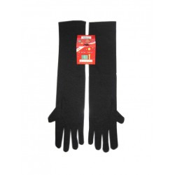 Handschoenen stretch zwart luxe nylon 40 cm