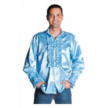 Rouches blouse lichtblauw