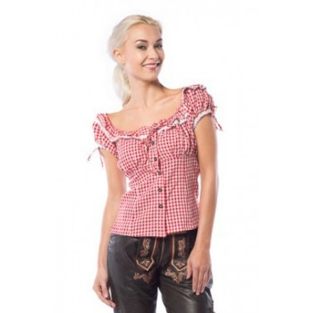 Tiroler blouse dames rood/wit