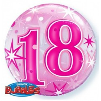 Folieballon bubbles 18 jaar roze