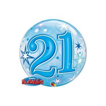 Folieballon bubbles 21 jaar blauw