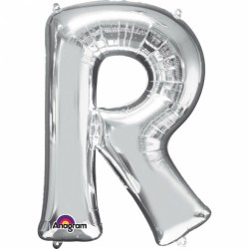 Folieballon letter zilver R