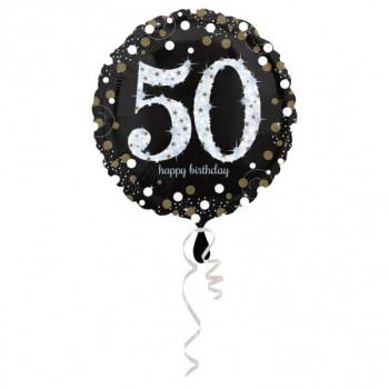 Folieballon sparkling zilver 50