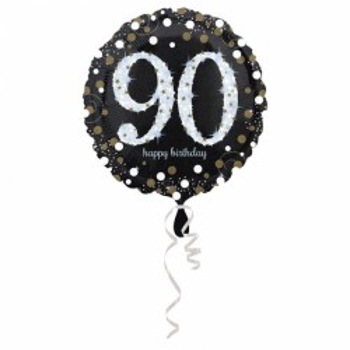 Folieballon sparkling zilver 90