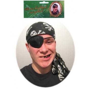 Piraten hoofddoek zwart met opdruk