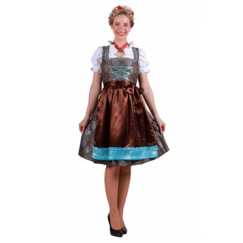 Dirndl luxe turquoise/ bruin