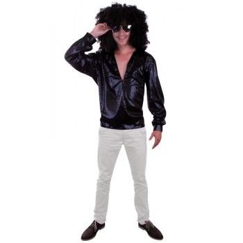 Blouse glitter disco zwart