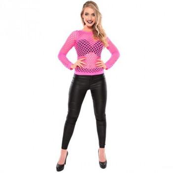 Shirt visnet grof neon roze