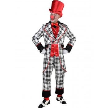 Clownspak ruit zwart/wit