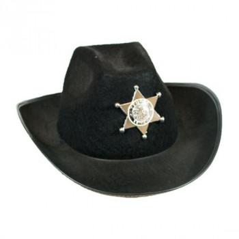 Cowboyhoed zwart Dallas met ster
