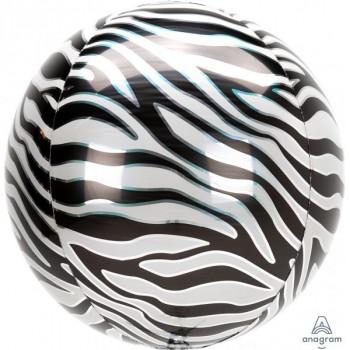 Folieballon orbz zebra