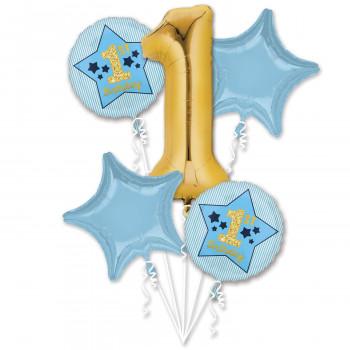 Folieballon 1 jaar blauw / goud