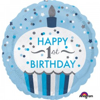 Folieballon 1st birthday blauw