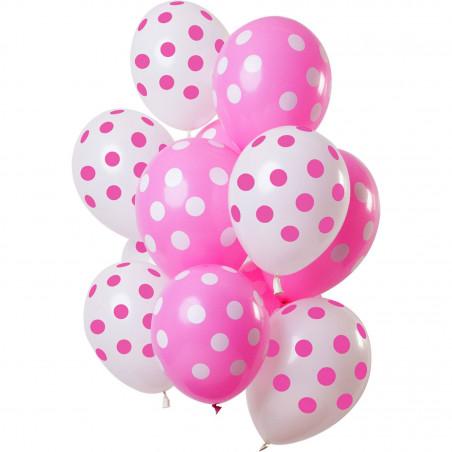 Ballonnen polka dot set roze