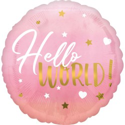 Folieballon hello world meisje